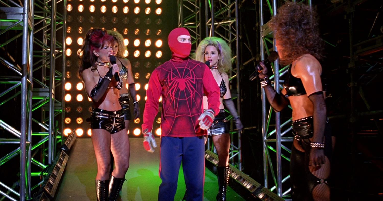 ... man wrestling costume shirt from the 2002 web slinging film spider man Ultimate Spider Man Peter Parker Costume
