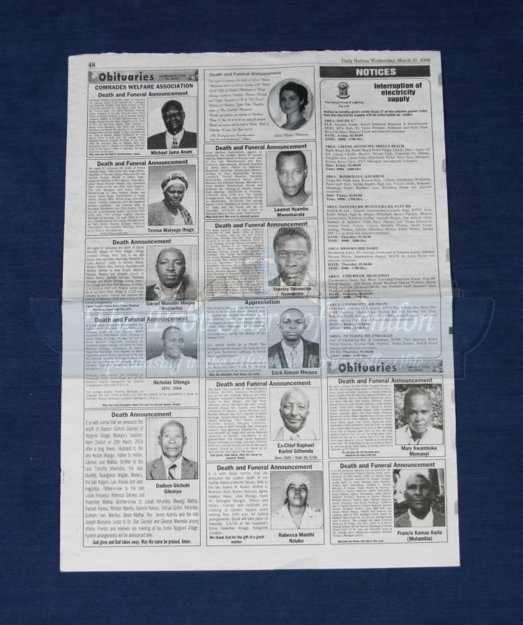 daily nation obituary paper