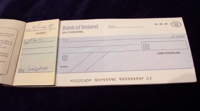 Liam Coughlans On Screen Cheque Book Prop Store