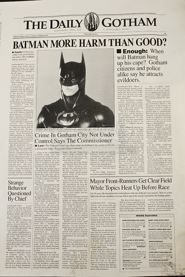 Unfinished Daily Gotham Newspaper Front Page | Prop Store ...