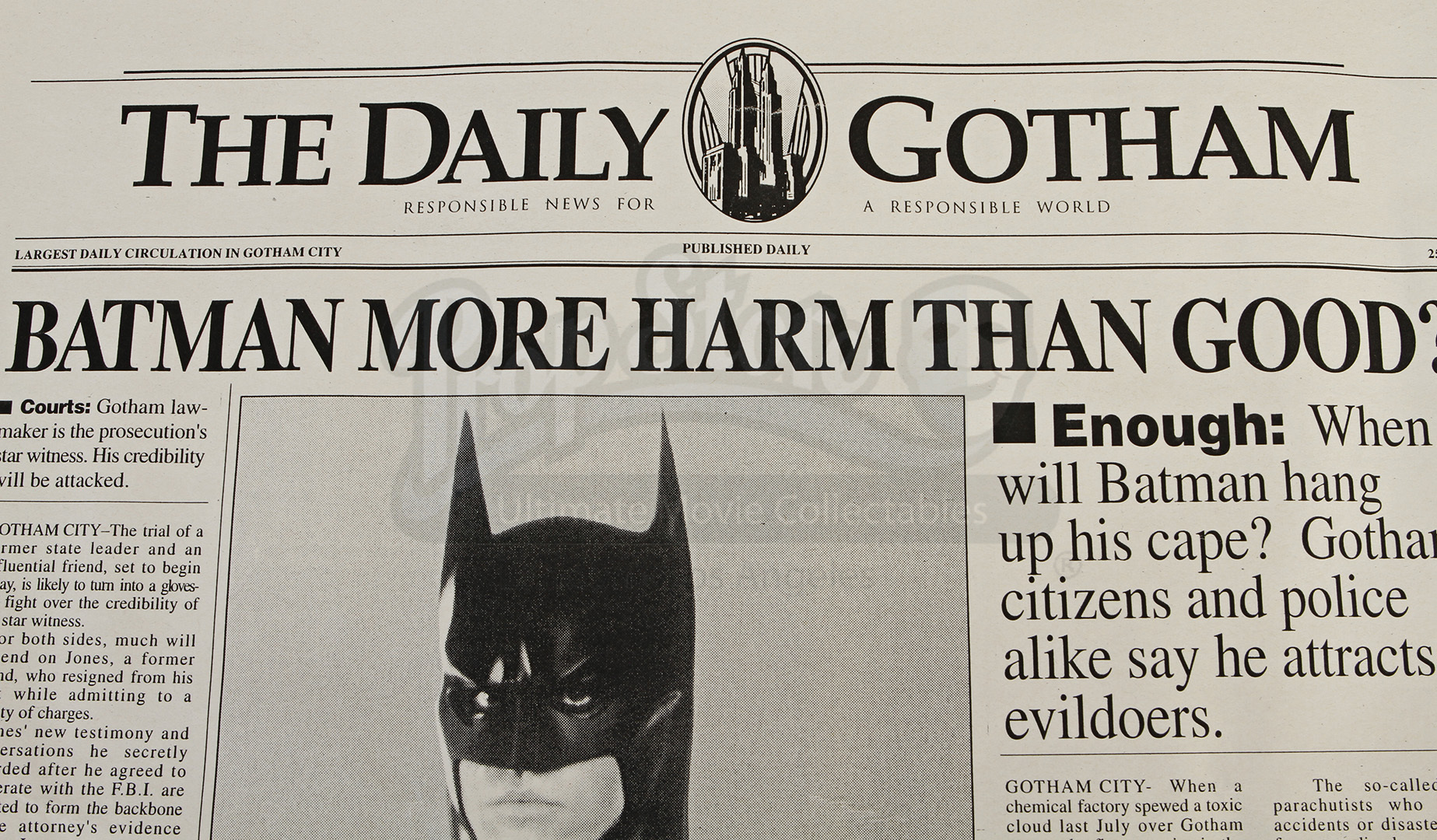 Unfinished Daily Gotham Newspaper Front Page