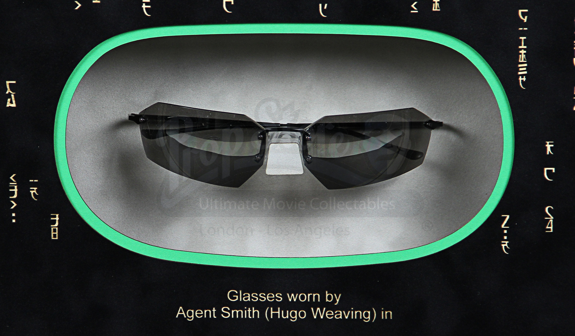 74560d577 Agent Smith (Hugo Weaving) Glasses Display | Prop Store - Ultimate Movie  Collectables