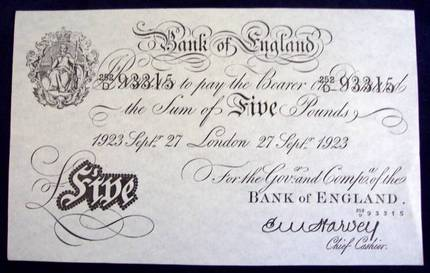 Old English Five Pound Note Prop Store Ultimate Movie