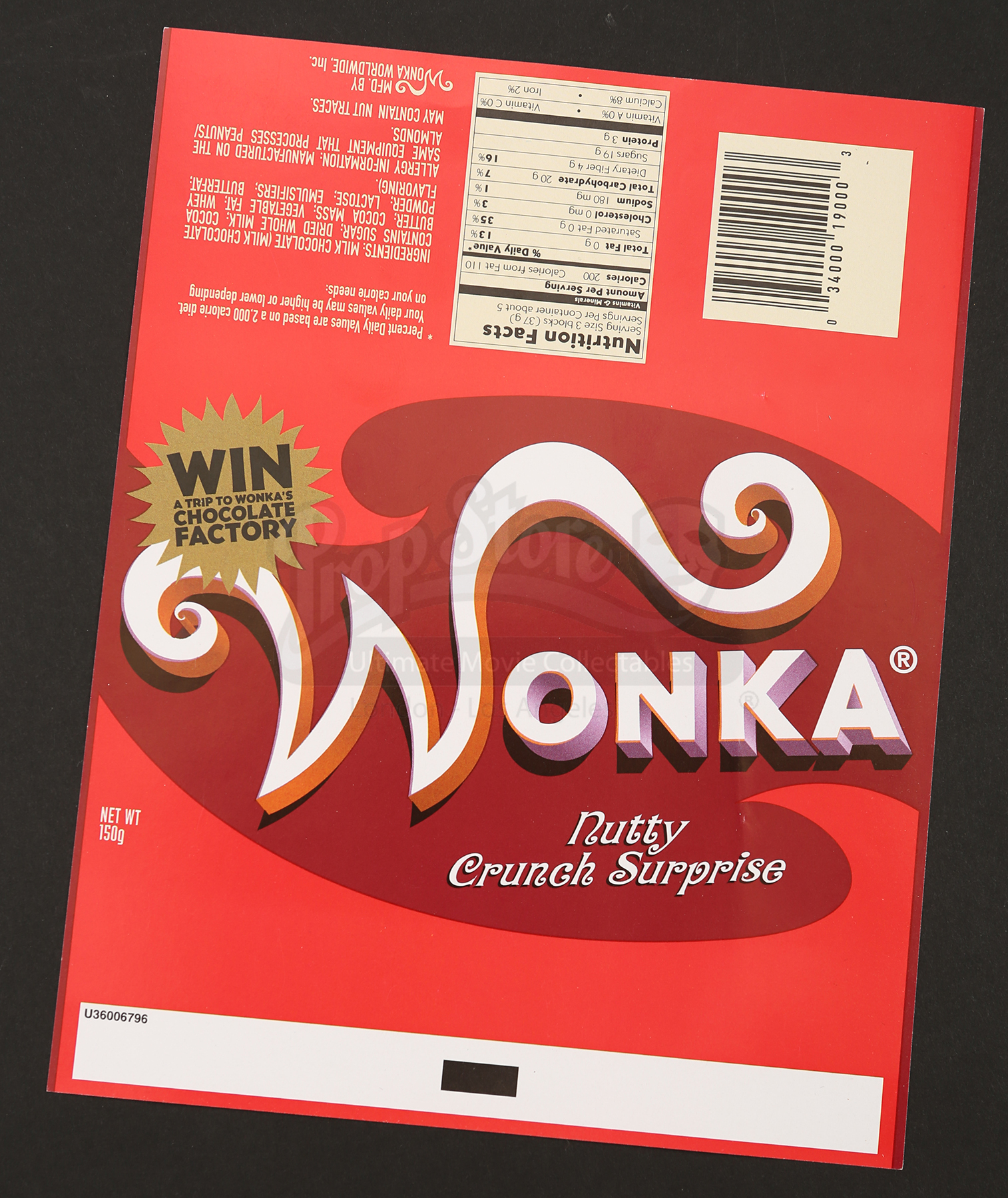 wonka bar wrapper nutty crunch surprise prop store ultimate movie collectables