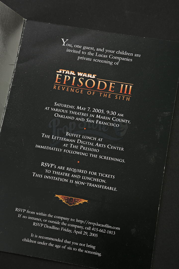 Screening Invitation Prop Store Ultimate Movie Collectables