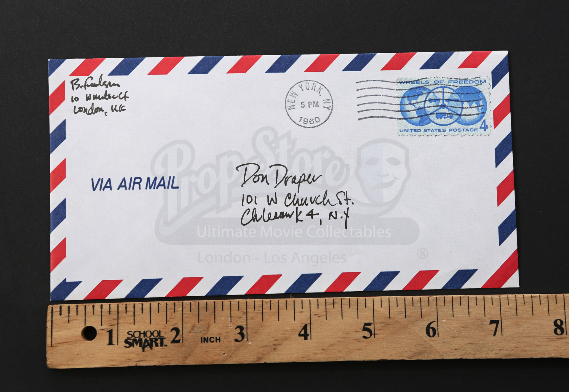 Don Drapers Jon Hamm Air Mail Envelope Prop Store Ultimate