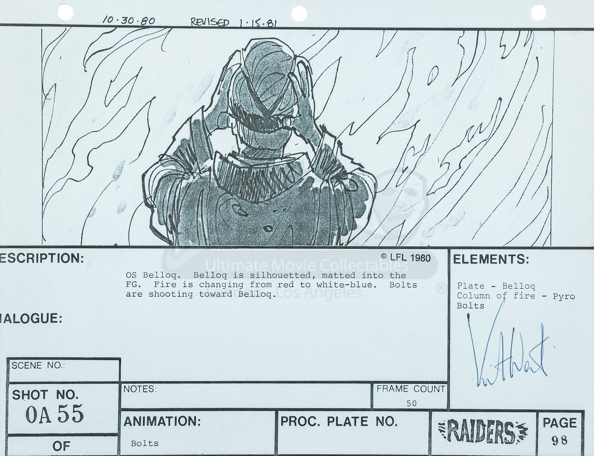 Kit West Signed Storyboard Belloq In The Flames Prop Store Note This Is A Thumbnail Diagram Click On It To Enlarge Image All Images And Screen Shots That Appear Throughout Our Site Are Copyright Their Respective Owners Presented