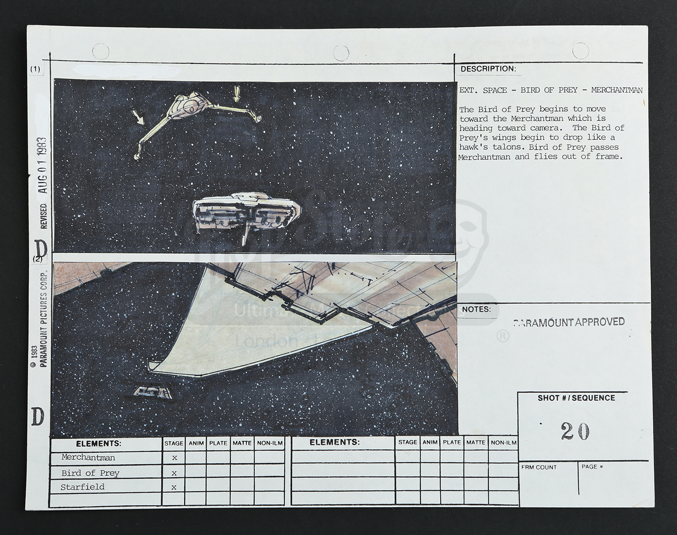 Hand Drawn Storyboard Bird Of Prey And Merchantman Prop Store Note This Is A Thumbnail Diagram Click On It To Enlarge Image All Images Screen Shots That Appear Throughout Our Site Are Copyright Their Respective Owners Presented
