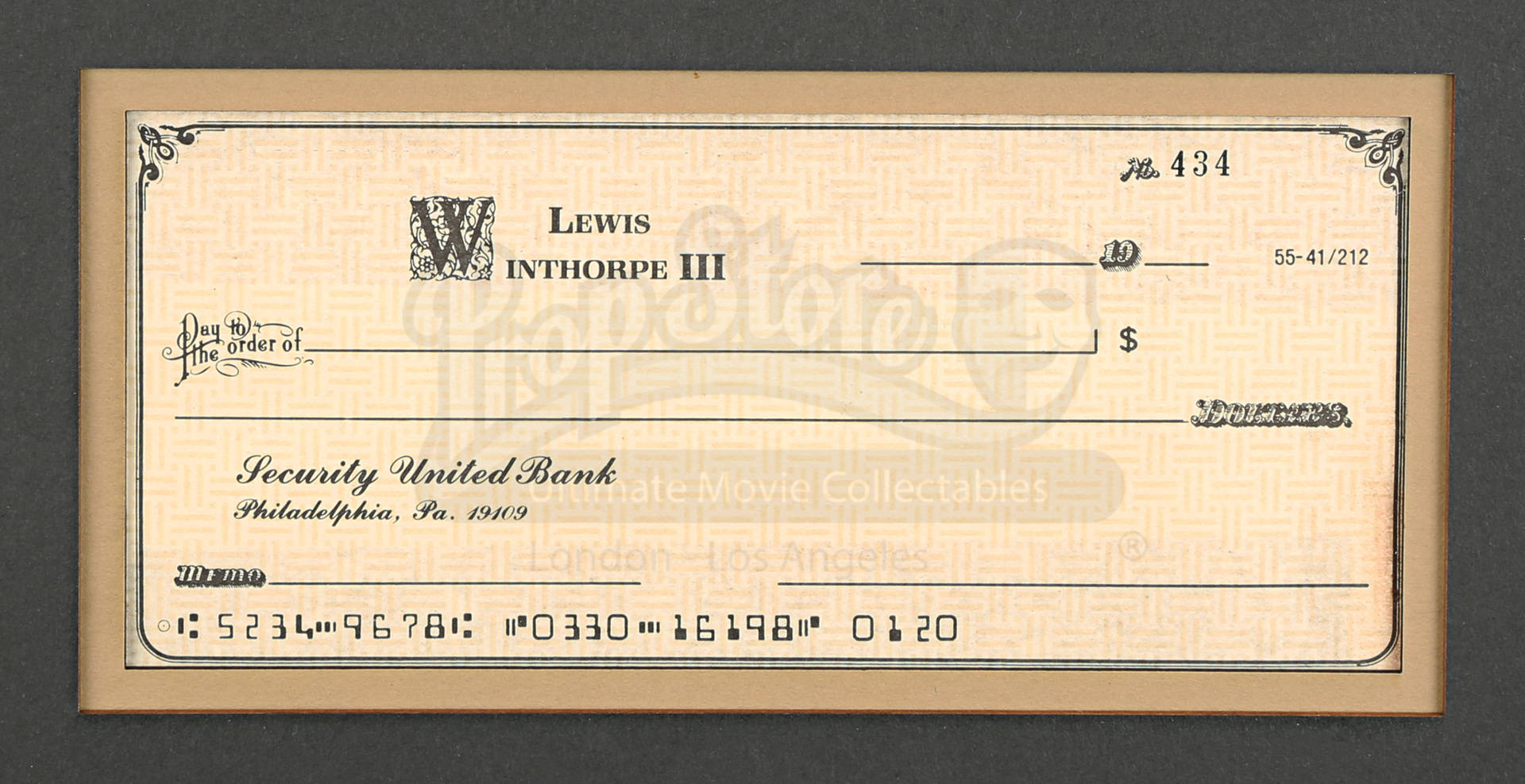 Pa Sales Tax >> Dan Aykroyd Cheque Display | Prop Store - Ultimate Movie Collectables