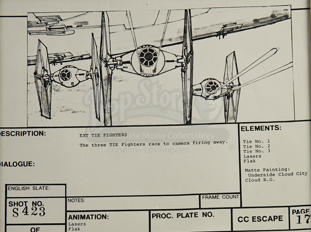 Jon Berg Signed Original Production Storyboards Tie Fighters Fire Note This Is A Thumbnail Diagram Click On It To Enlarge Image All Images And Screen Shots That Appear Throughout Our Site Are Copyright Their Respective Owners Presented