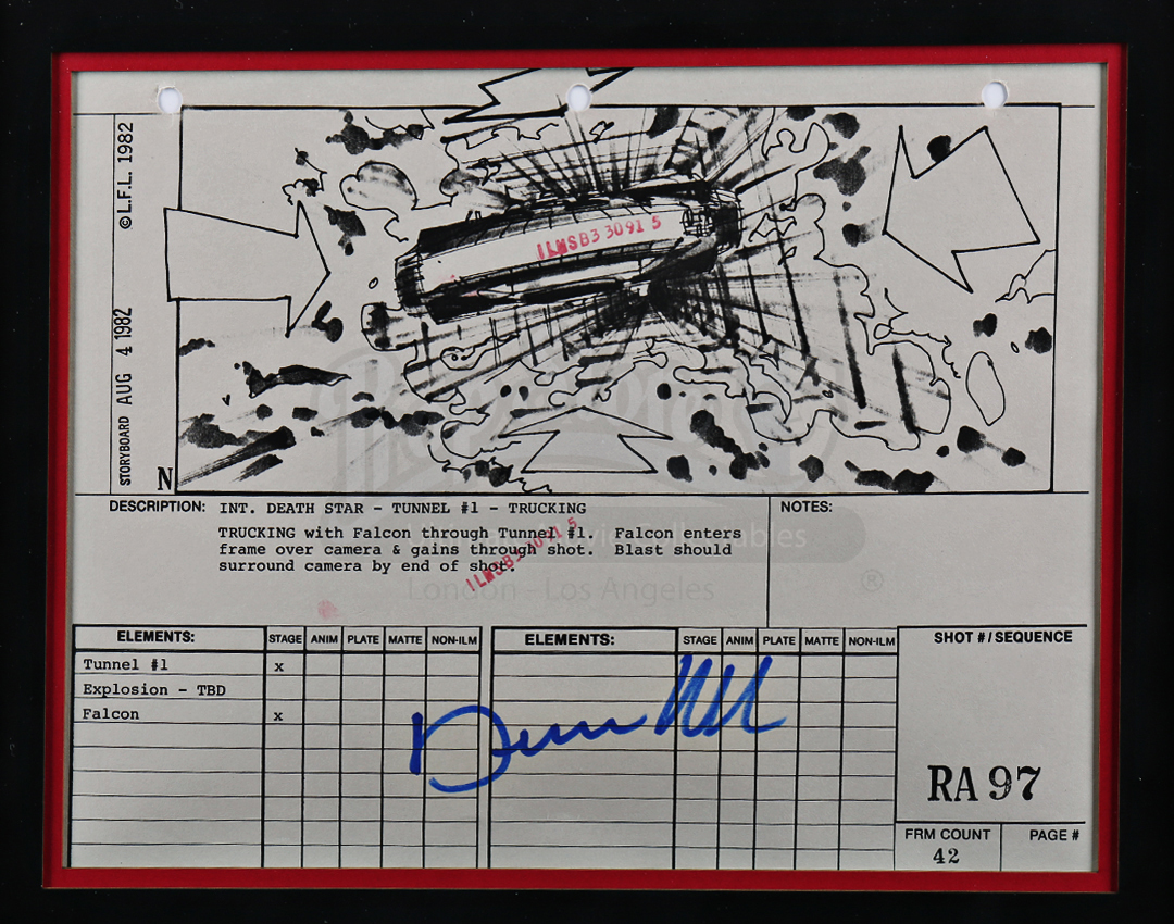 Dennis Muren-Signed Original Production Storyboard - Falcon Blasts